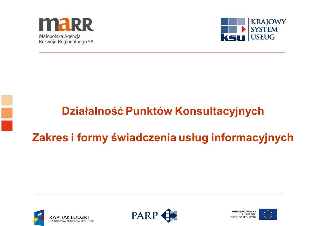 Działalność Punktów Konsultacyjnych Zakres i formy świadczenia usług informacyjnych