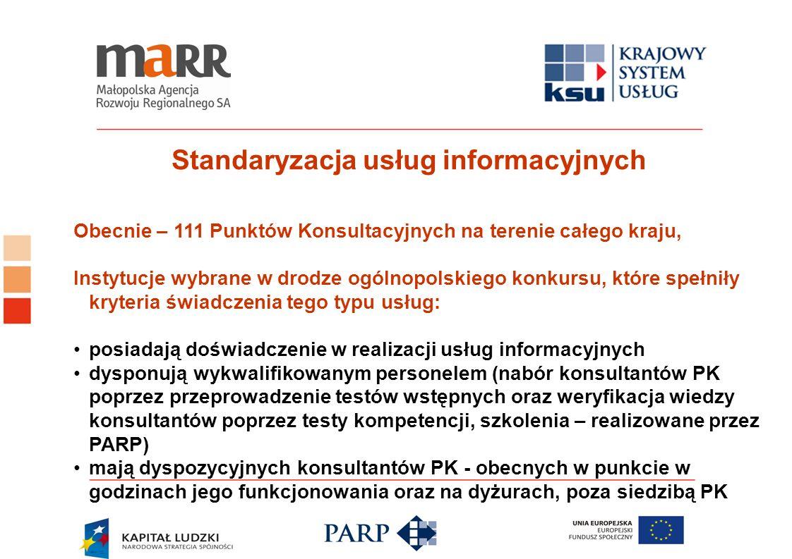 Standaryzacja usług informacyjnych Obecnie – 111 Punktów Konsultacyjnych na terenie całego kraju, Instytucje wybrane w drodze ogólnopolskiego konkursu