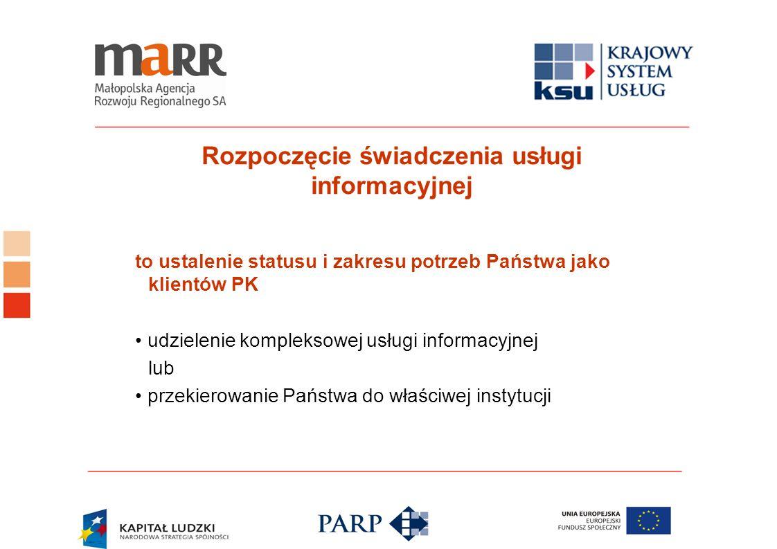 Rozpoczęcie świadczenia usługi informacyjnej to ustalenie statusu i zakresu potrzeb Państwa jako klientów PK udzielenie kompleksowej usługi informacyj