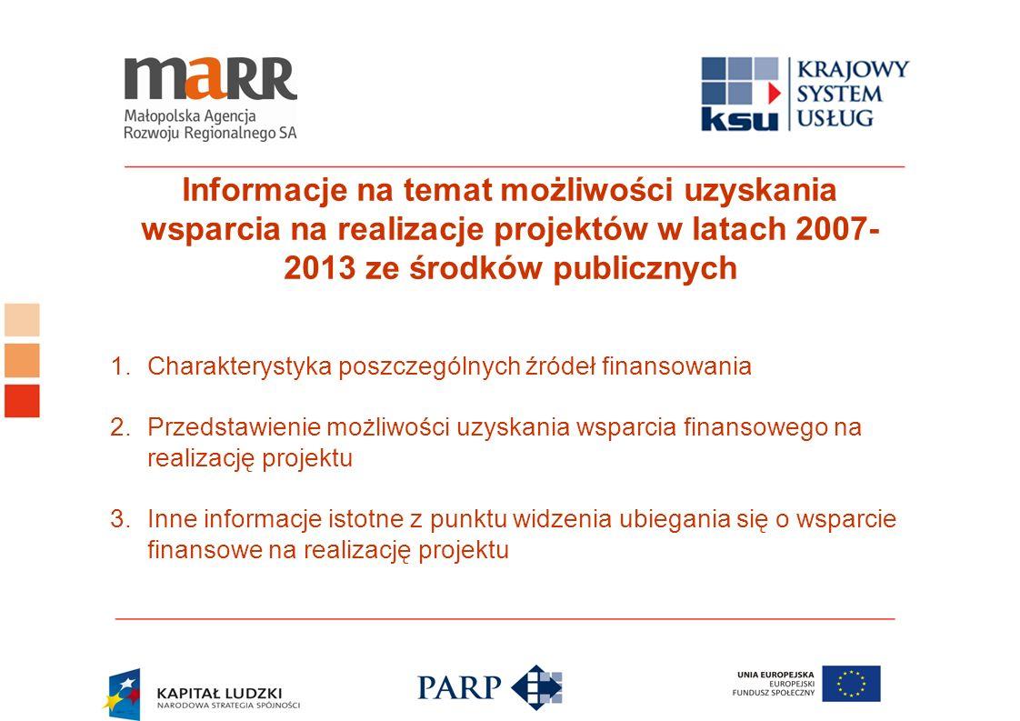 Informacje na temat możliwości uzyskania wsparcia na realizacje projektów w latach 2007- 2013 ze środków publicznych 1.Charakterystyka poszczególnych