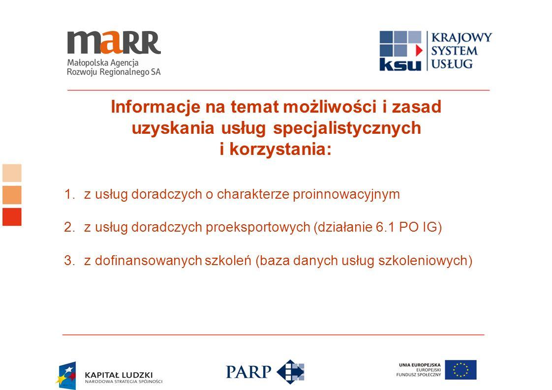 Informacje na temat możliwości i zasad uzyskania usług specjalistycznych i korzystania: 1.z usług doradczych o charakterze proinnowacyjnym 2.z usług d