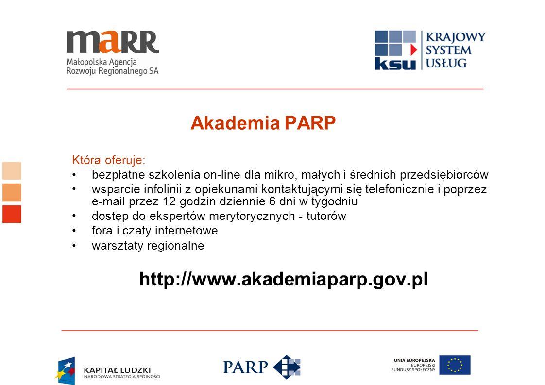 Akademia PARP Która oferuje: bezpłatne szkolenia on-line dla mikro, małych i średnich przedsiębiorców wsparcie infolinii z opiekunami kontaktującymi s
