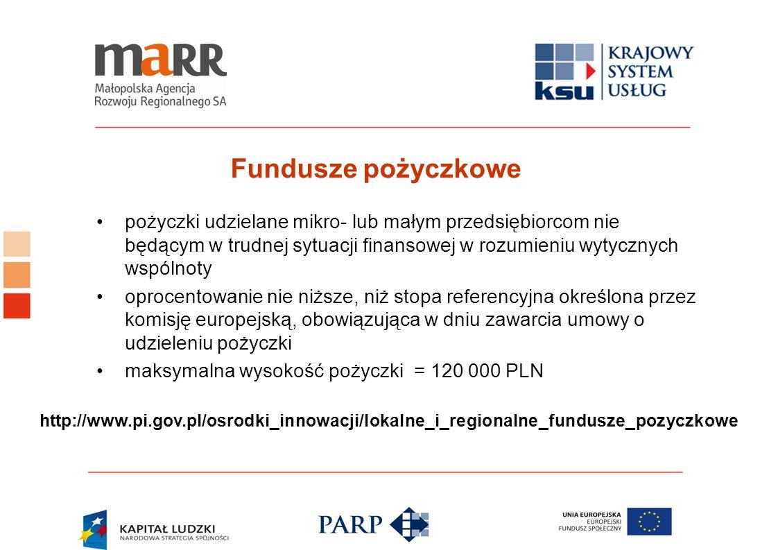Fundusze pożyczkowe pożyczki udzielane mikro- lub małym przedsiębiorcom nie będącym w trudnej sytuacji finansowej w rozumieniu wytycznych wspólnoty op