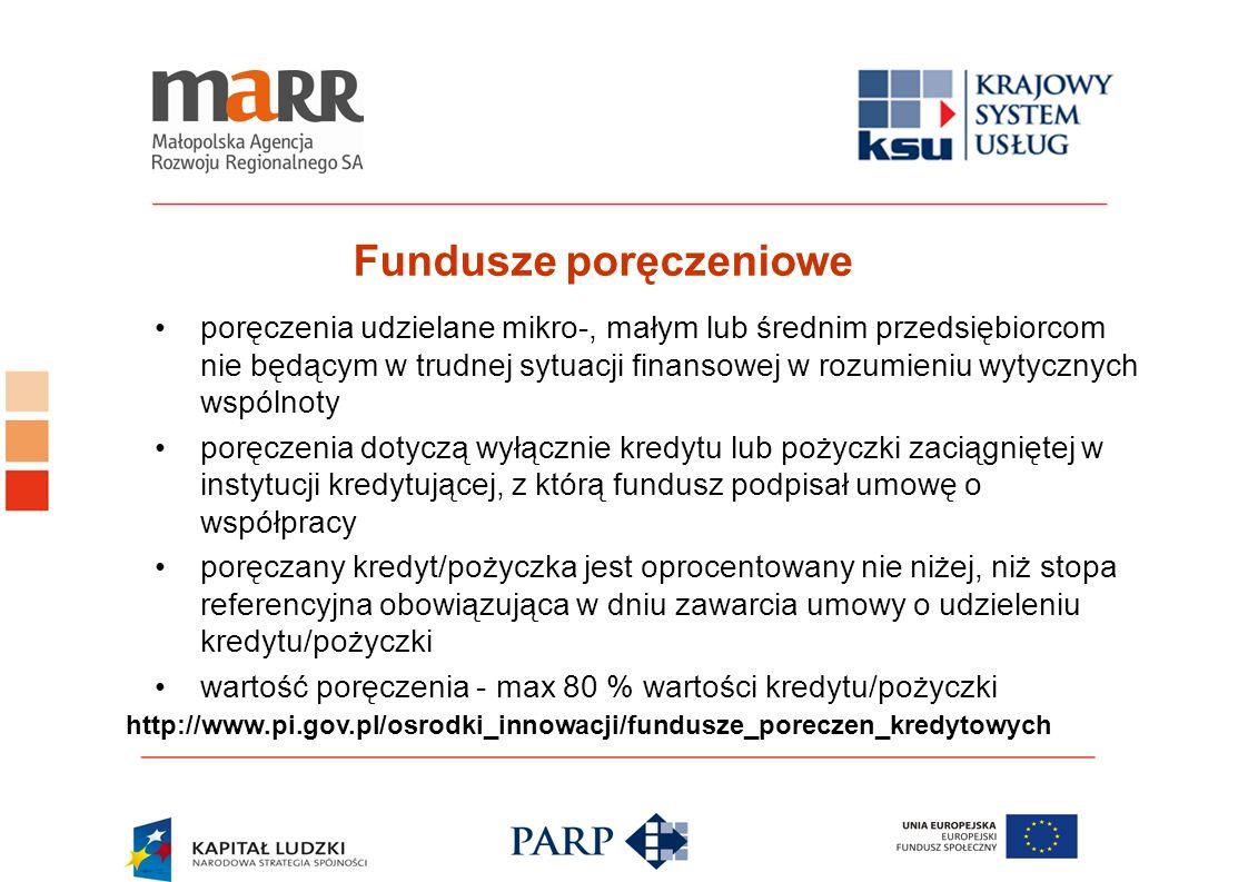 Fundusze poręczeniowe poręczenia udzielane mikro-, małym lub średnim przedsiębiorcom nie będącym w trudnej sytuacji finansowej w rozumieniu wytycznych