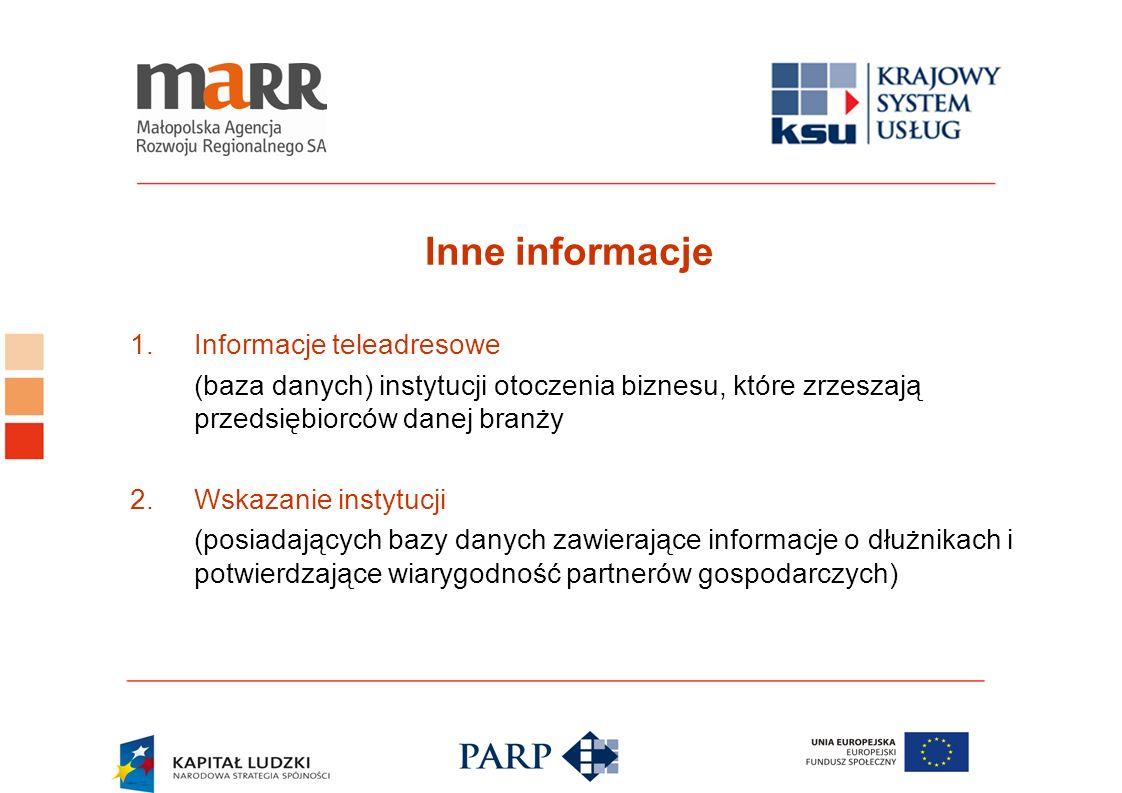 Inne informacje 1.Informacje teleadresowe (baza danych) instytucji otoczenia biznesu, które zrzeszają przedsiębiorców danej branży 2.Wskazanie instytu