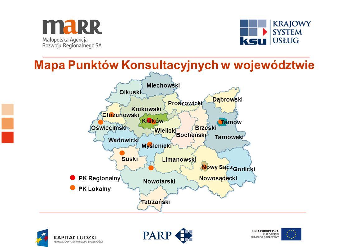 Mapa Punktów Konsultacyjnych w województwie Tatrzański Nowotarski Nowosądecki Gorlicki Suski Limanowski Wadowicki Oświęcimski Olkuski Miechowski Krako