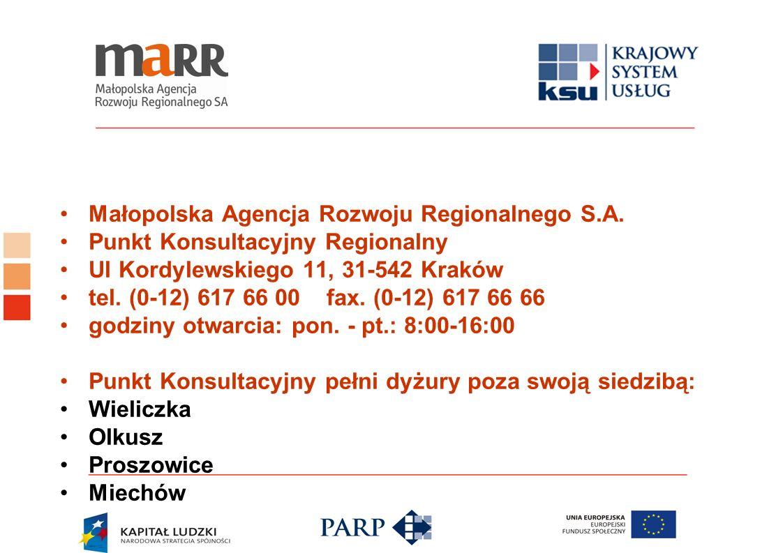 Małopolska Agencja Rozwoju Regionalnego S.A. Punkt Konsultacyjny Regionalny Ul Kordylewskiego 11, 31-542 Kraków tel. (0-12) 617 66 00 fax. (0-12) 617