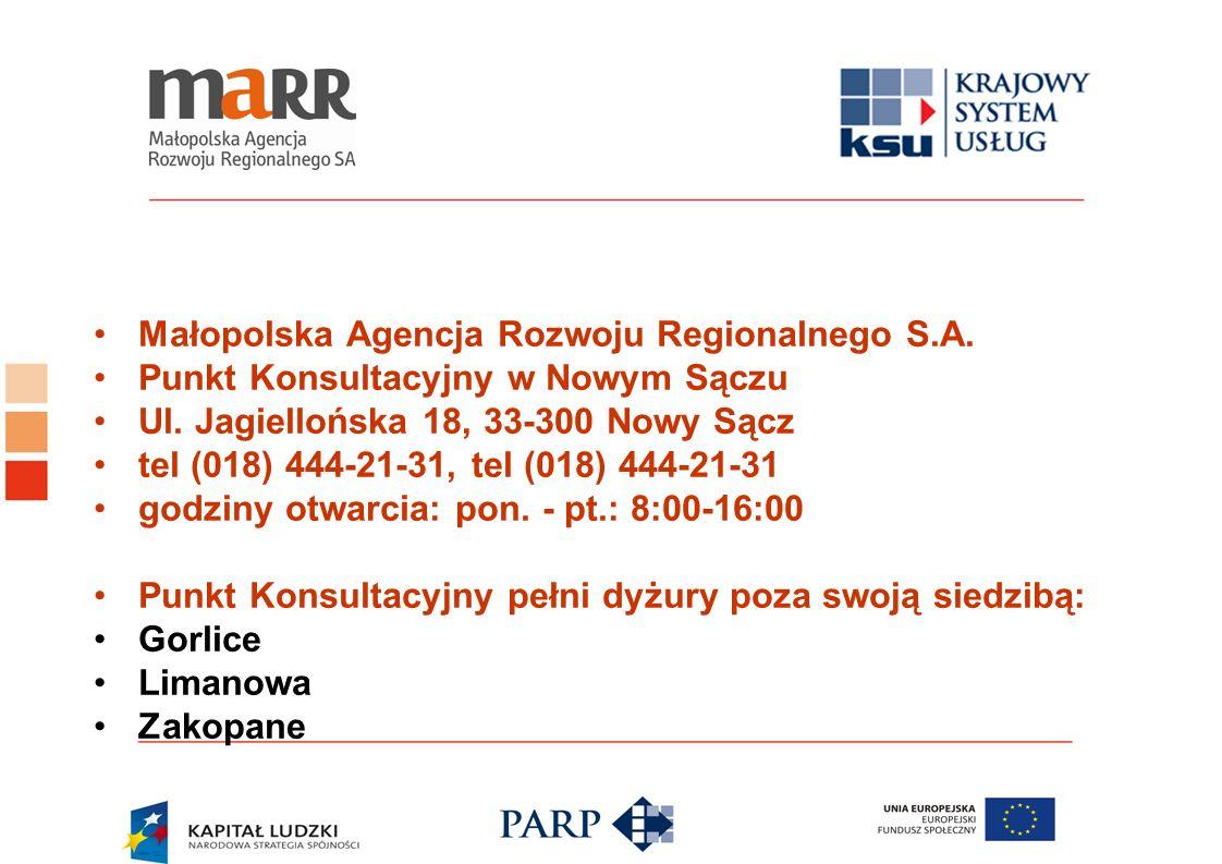 Małopolska Agencja Rozwoju Regionalnego S.A. Punkt Konsultacyjny w Nowym Sączu Ul. Jagiellońska 18, 33-300 Nowy Sącz tel (018) 444-21-31, tel (018) 44