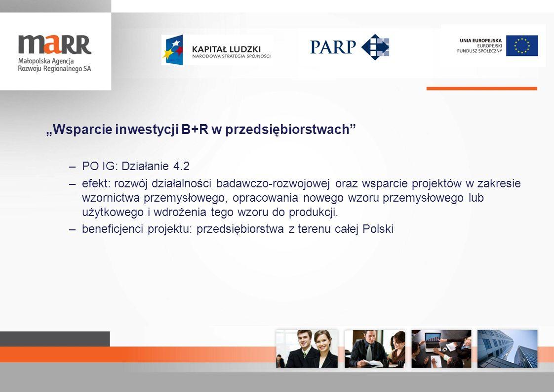 Wsparcie inwestycji B+R w przedsiębiorstwach –PO IG: Działanie 4.2 –efekt: rozwój działalności badawczo-rozwojowej oraz wsparcie projektów w zakresie