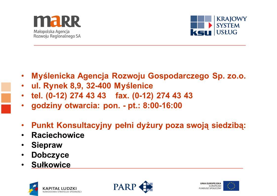 Myślenicka Agencja Rozwoju Gospodarczego Sp. zo.o. ul. Rynek 8,9, 32-400 Myślenice tel. (0-12) 274 43 43 fax. (0-12) 274 43 43 godziny otwarcia: pon.
