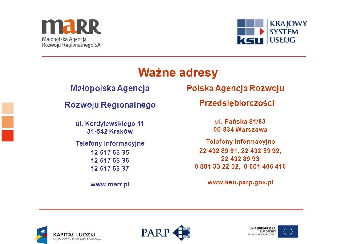 Ważne adresy Polska Agencja Rozwoju Przedsiębiorczości ul. Pańska 81/83 00-834 Warszawa Telefony informacyjne 22 432 89 91, 22 432 89 92, 22 432 89 93