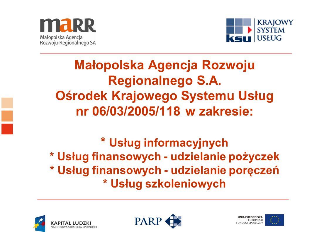 Małopolska Agencja Rozwoju Regionalnego S.A. Ośrodek Krajowego Systemu Usług nr 06/03/2005/118 w zakresie: * Usług informacyjnych * Usług finansowych