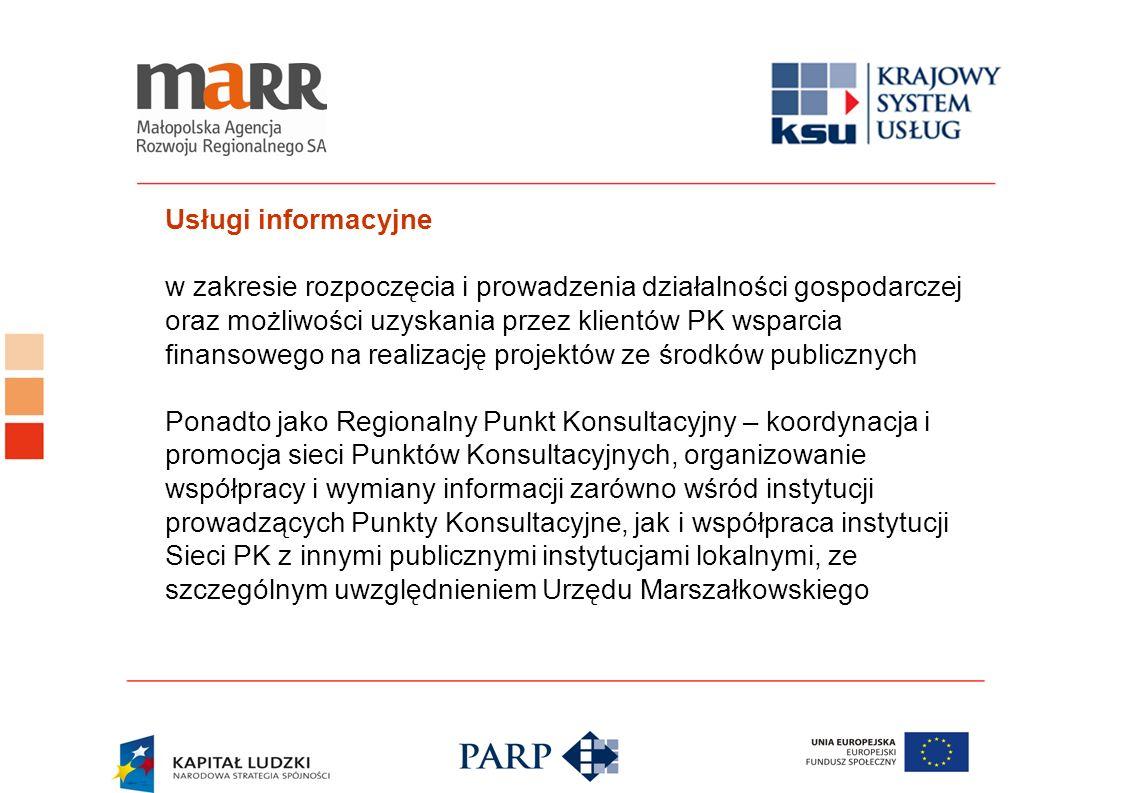Usługi informacyjne w zakresie rozpoczęcia i prowadzenia działalności gospodarczej oraz możliwości uzyskania przez klientów PK wsparcia finansowego na