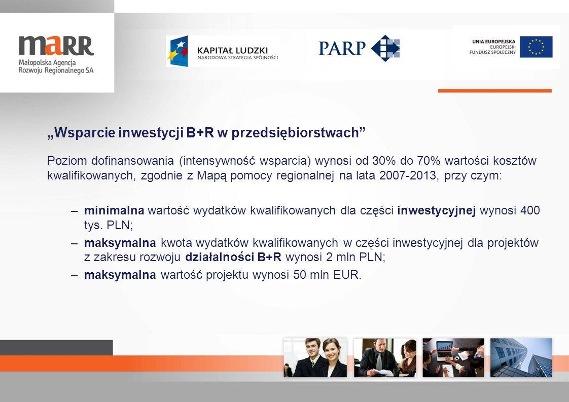 Wsparcie inwestycji B+R w przedsiębiorstwach Maksymalna kwota dofinansowania: –projekt w zakresie wzornictwa: wsparcie na inwestycje: 21 mln zł wsparcie na doradztwo: 600 tys.