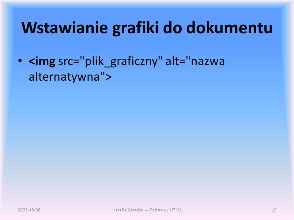 Wstawianie grafiki do dokumentu 2009-10-08Natalia Kotsyba --- Podstawy HTML19