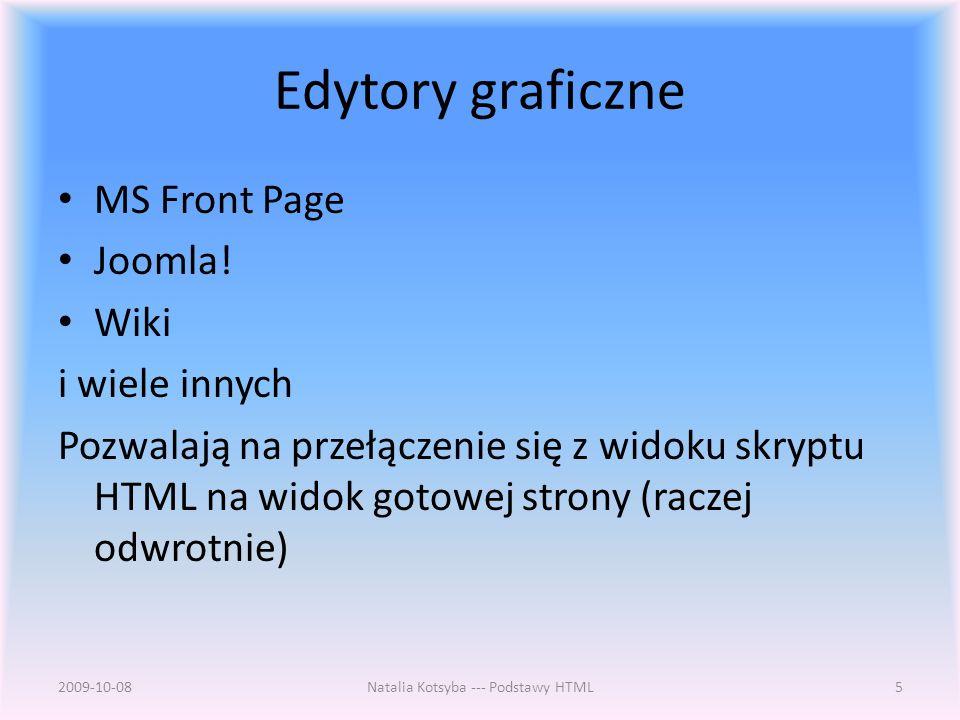 Edytory graficzne MS Front Page Joomla.