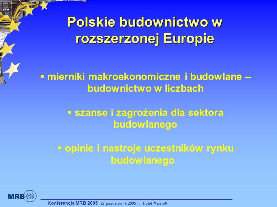 Polskie budownictwo w rozszerzonej Europie Konferencja MRB 2005 27 październik 2005 r. hotel Marriott mierniki makroekonomiczne i budowlane – budownic