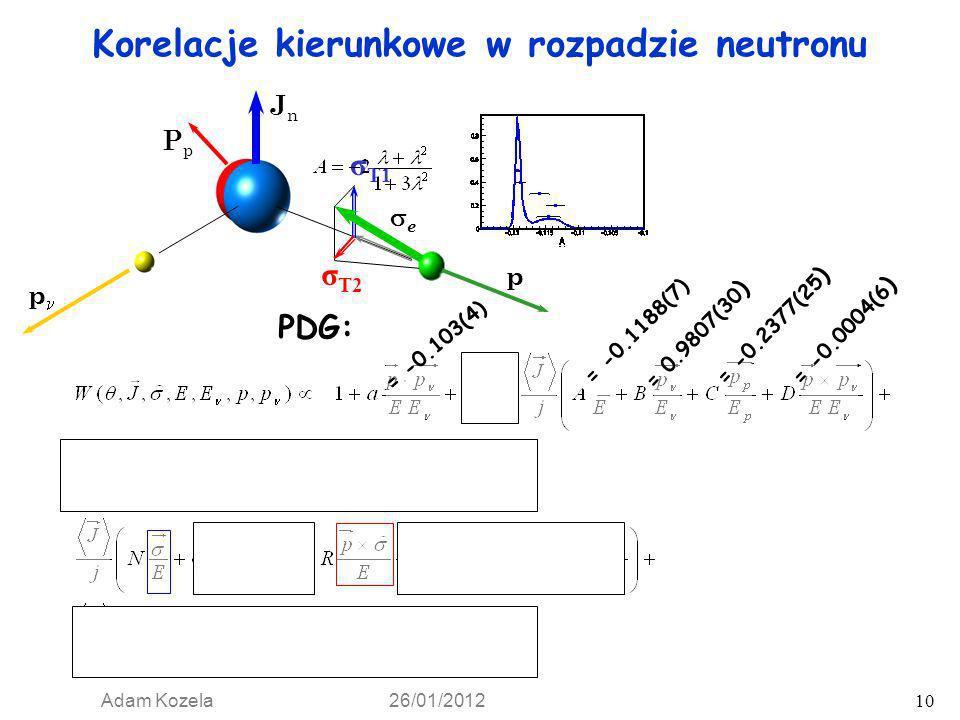 Adam Kozela 26/01/2012 10 e p p PpPp JnJn σ T2 σ T1 Korelacje kierunkowe w rozpadzie neutronu PDG: = -0.103(4) = -0.1173(13) = 0.9807(30 ) = -0.2377(2