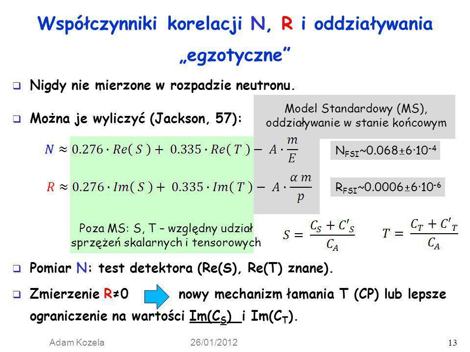 Adam Kozela 26/01/2012 13 Nigdy nie mierzone w rozpadzie neutronu. Model Standardowy (MS), oddziaływanie w stanie końcowym Współczynniki korelacji N,