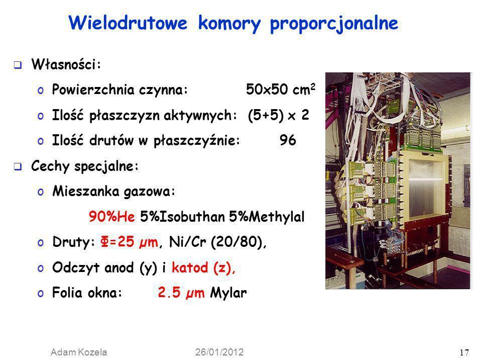 Adam Kozela 26/01/2012 17 Własności: oPowierzchnia czynna: 50x50 cm 2 oIlość płaszczyzn aktywnych: (5+5) x 2 oIlość drutów w płaszczyźnie: 96 Cechy sp