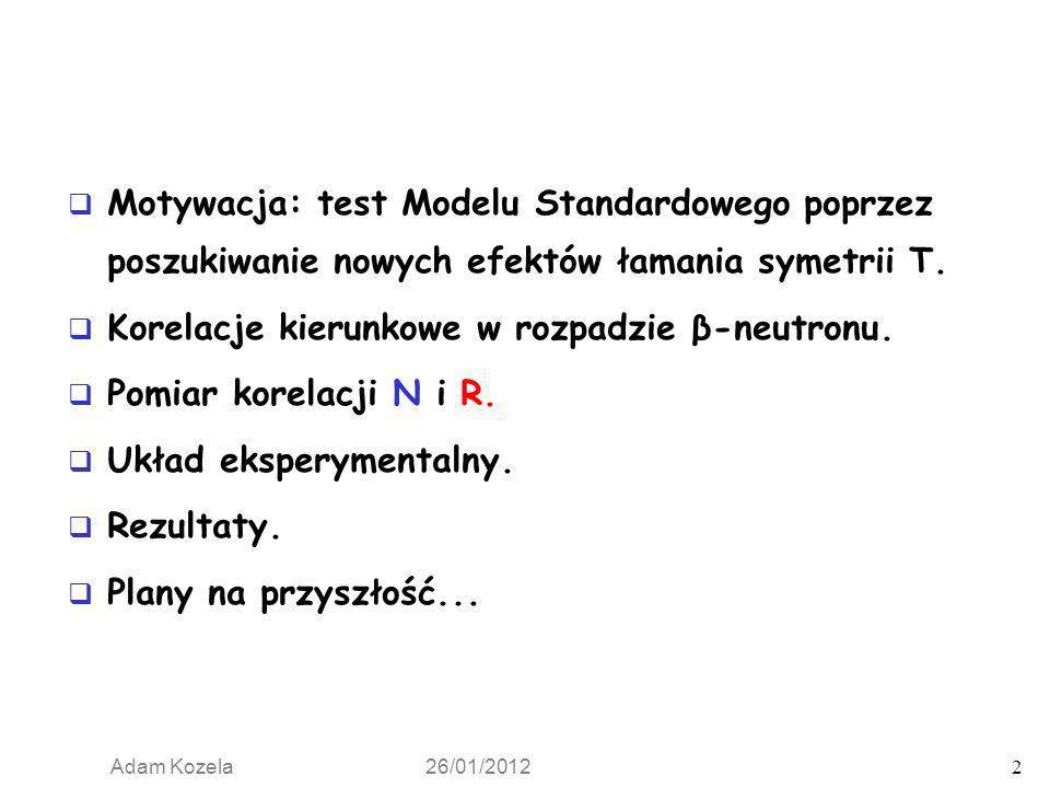 Adam Kozela 26/01/2012 2 Motywacja: test Modelu Standardowego poprzez poszukiwanie nowych efektów łamania symetrii T. Korelacje kierunkowe w rozpadzie