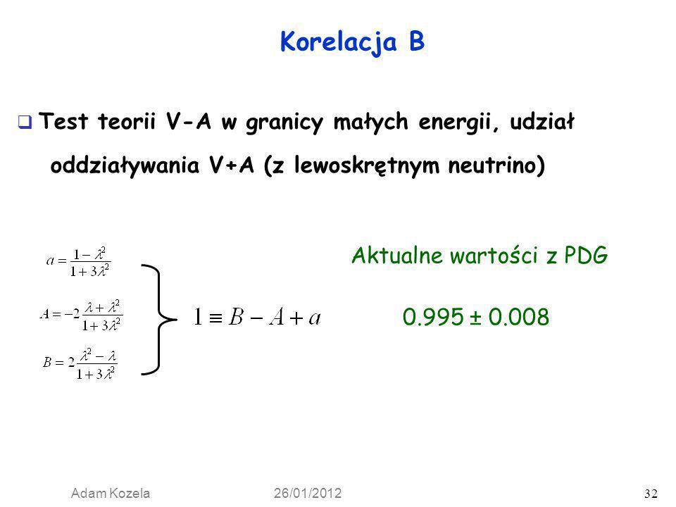 Adam Kozela 26/01/2012 32 Korelacja B 0.995 ± 0.008 Aktualne wartości z PDG Test teorii V-A w granicy małych energii, udział oddziaływania V+A (z lewo