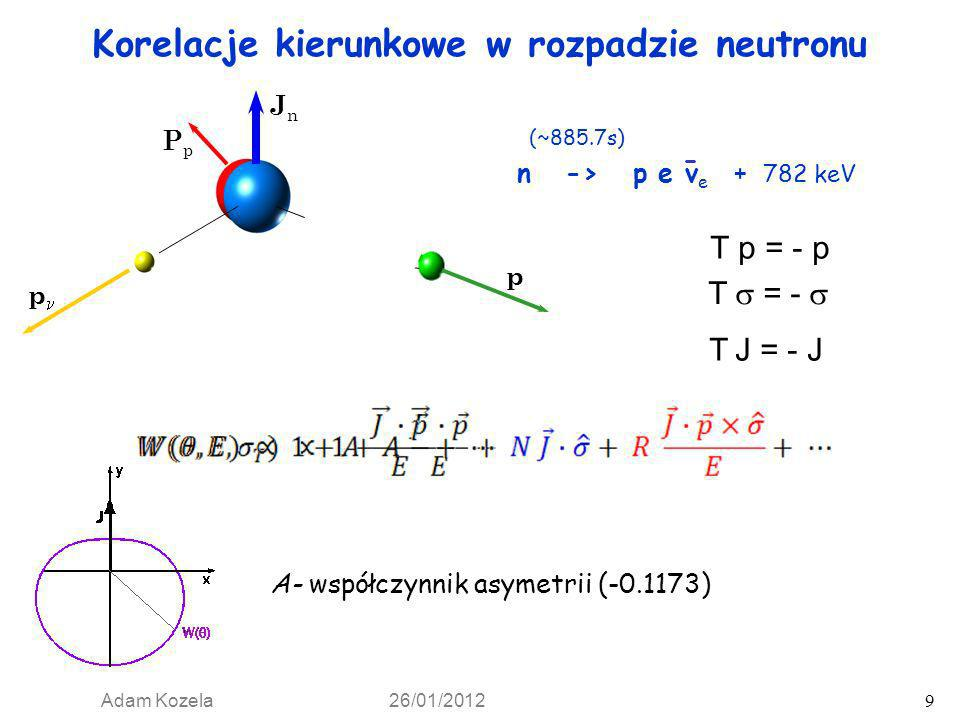Adam Kozela 26/01/2012 10 e p p PpPp JnJn σ T2 σ T1 Korelacje kierunkowe w rozpadzie neutronu PDG: = -0.103(4) = -0.1173(13) = 0.9807(30 ) = -0.2377(25 ) = -0.0004(6 ) = -0.1188(7)