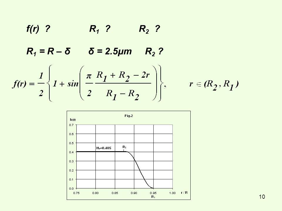 10 f(r) ? R 1 ? R 2 ? R 1 = R – δ δ = 2.5μm R 2 ?