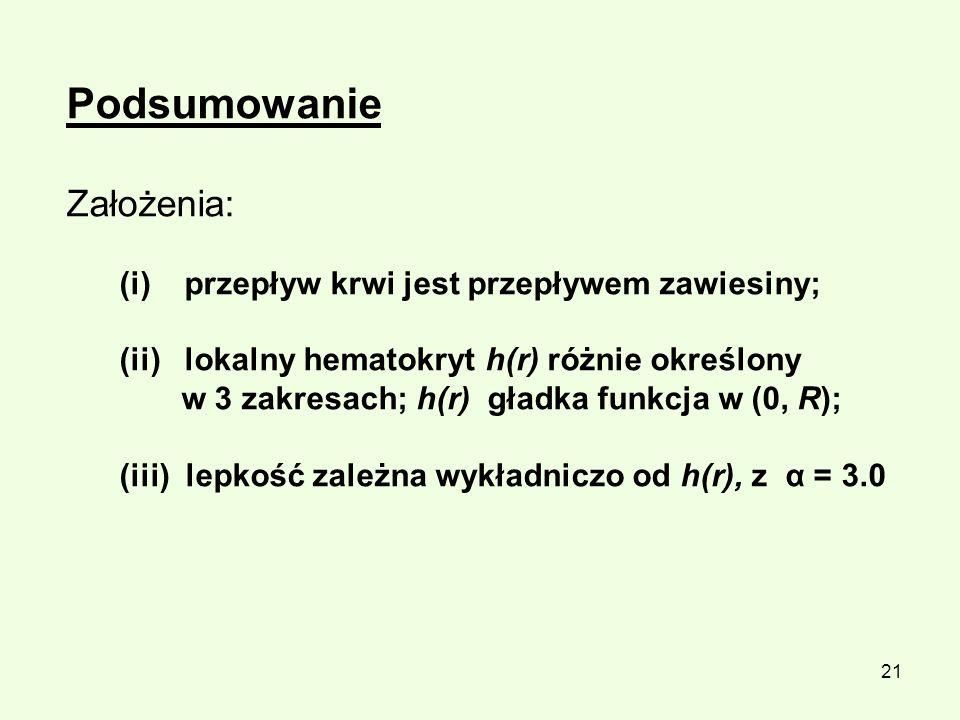 21 Podsumowanie Założenia: (i) przepływ krwi jest przepływem zawiesiny; (ii) lokalny hematokryt h(r) różnie określony w 3 zakresach; h(r) gładka funkc
