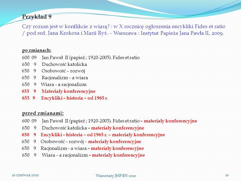 10 czerwca 2010 Warsztaty JHP BN 2010 10 Przykład 9 Czy rozum jest w konflikcie z wiarą? : w X rocznicę ogłoszenia encykliki Fides et ratio / pod red.