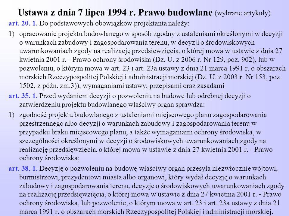 Ustawa z dnia 7 lipca 1994 r. Prawo budowlane (wybrane artykuły) art. 20. 1. Do podstawowych obowiązków projektanta należy: 1)opracowanie projektu bud