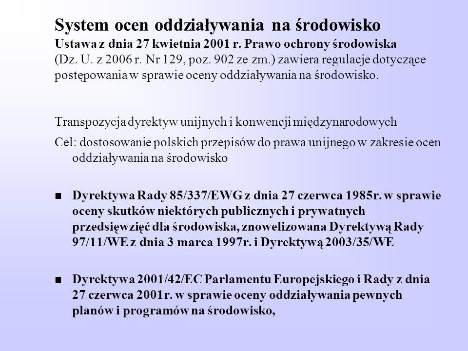 System ocen oddziaływania na środowisko Ustawa z dnia 27 kwietnia 2001 r. Prawo ochrony środowiska (Dz. U. z 2006 r. Nr 129, poz. 902 ze zm.) zawiera