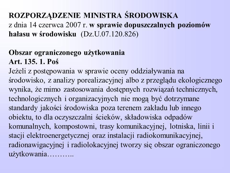ROZPORZĄDZENIE MINISTRA ŚRODOWISKA z dnia 14 czerwca 2007 r. w sprawie dopuszczalnych poziomów hałasu w środowisku (Dz.U.07.120.826) Obszar ograniczon