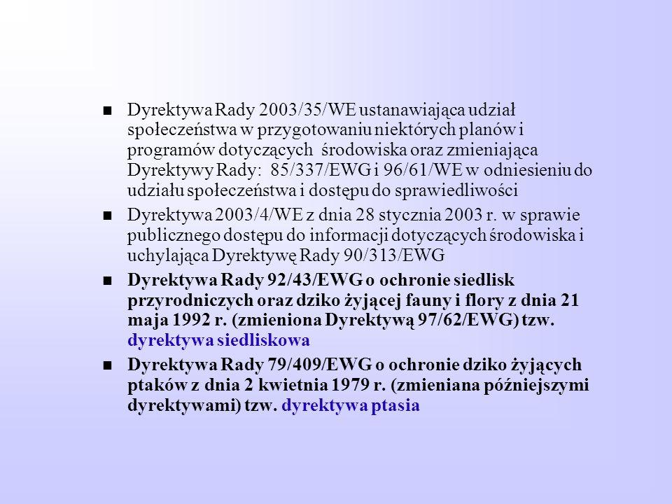 Dyrektywa Rady 2003/35/WE ustanawiająca udział społeczeństwa w przygotowaniu niektórych planów i programów dotyczących środowiska oraz zmieniająca Dyr