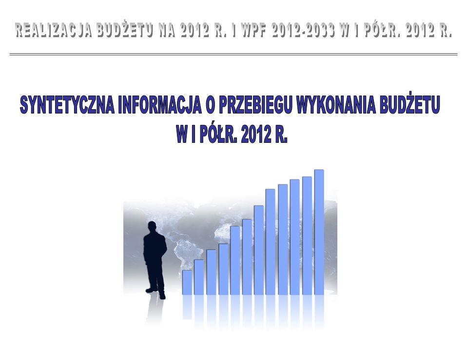 2 PODSTAWOWE WIELKOŚCI BUDŻETOWE REALIZACJA PLANU W I PÓŁROCZU 2012 R.