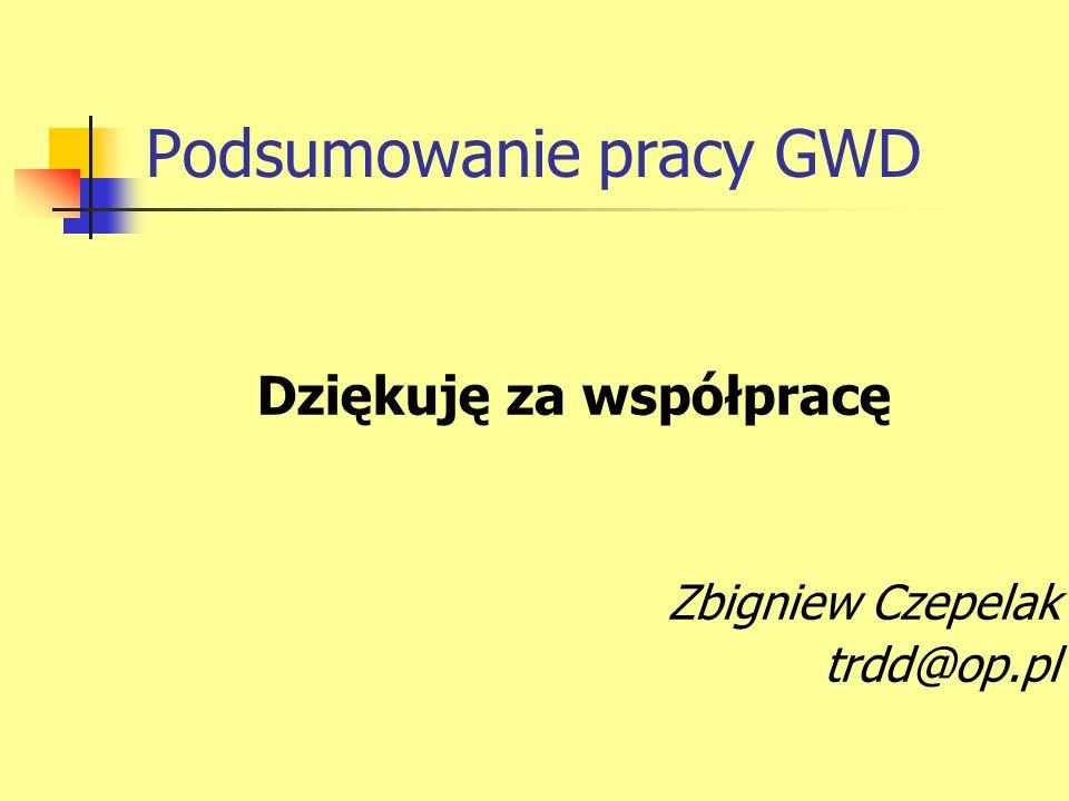 Podsumowanie pracy GWD Dziękuję za współpracę Zbigniew Czepelak trdd@op.pl