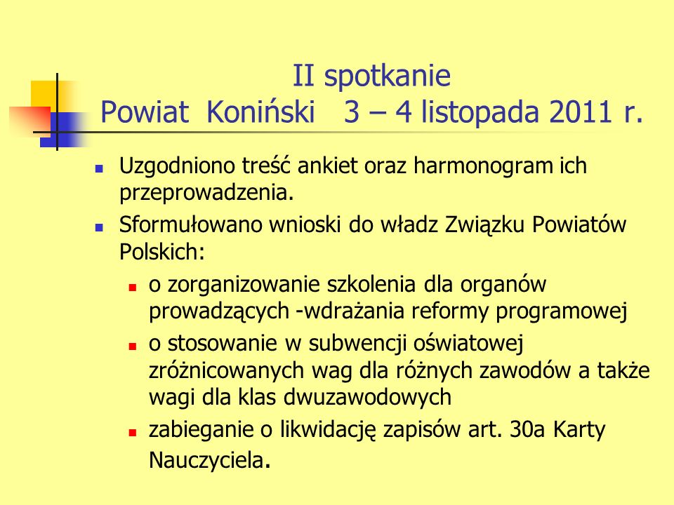 II spotkanie Powiat Koniński 3 – 4 listopada 2011 r.