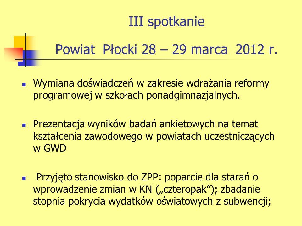 III spotkanie Powiat Płocki 28 – 29 marca 2012 r.