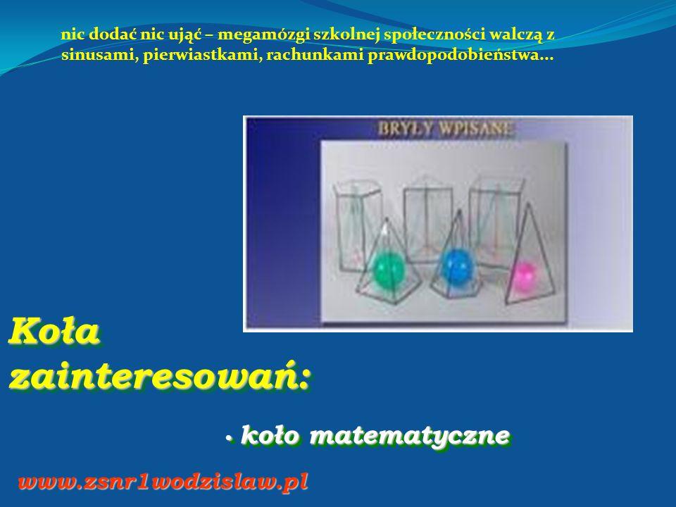Koła zainteresowań: koło matematyczne koło matematyczne www.zsnr1wodzislaw.pl nic dodać nic ująć – megamózgi szkolnej społeczności walczą z sinusami,