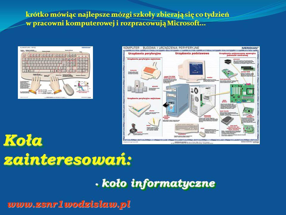 Koła zainteresowań: koło informatyczne koło informatyczne www.zsnr1wodzislaw.pl krótko mówiąc najlepsze mózgi szkoły zbierają się co tydzień w pracown