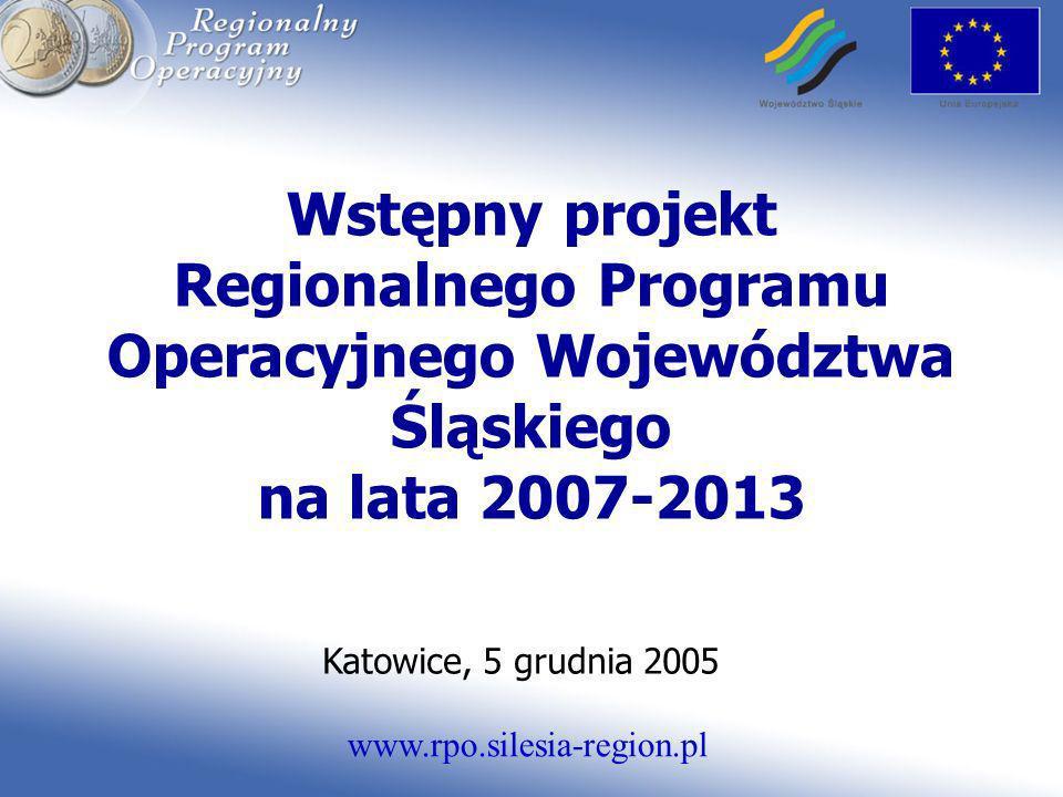 www.rpo.silesia-region.pl Wstępny projekt Regionalnego Programu Operacyjnego Województwa Śląskiego na lata 2007-2013 Katowice, 5 grudnia 2005