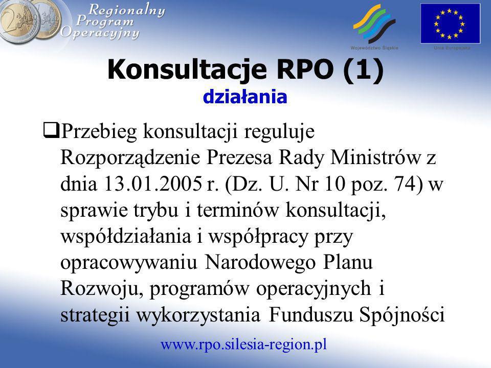 www.rpo.silesia-region.pl Konsultacje RPO (1) działania Przebieg konsultacji reguluje Rozporządzenie Prezesa Rady Ministrów z dnia 13.01.2005 r. (Dz.