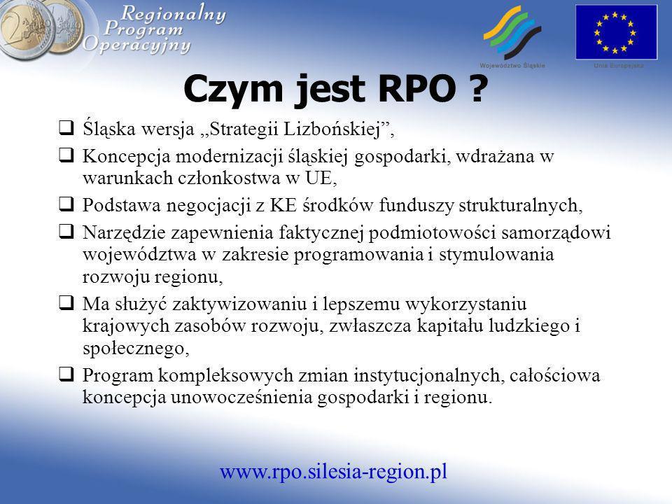 www.rpo.silesia-region.pl Czym jest RPO ? Śląska wersja Strategii Lizbońskiej, Koncepcja modernizacji śląskiej gospodarki, wdrażana w warunkach członk