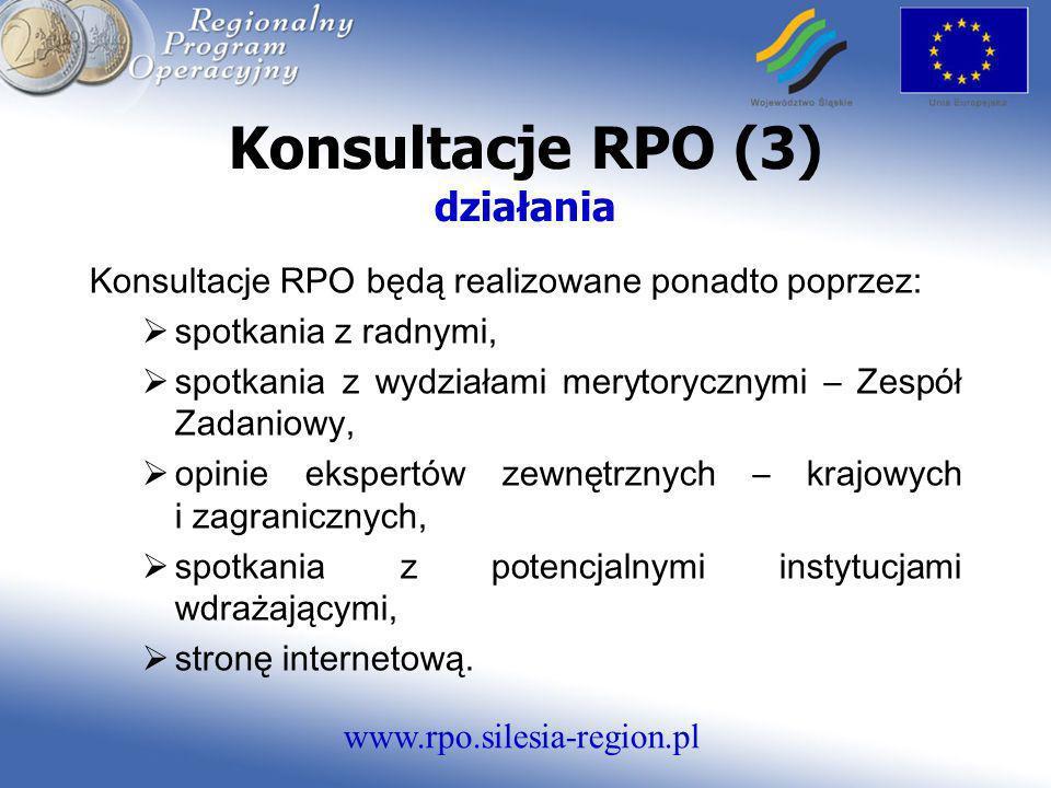 www.rpo.silesia-region.pl Konsultacje RPO (3) działania Konsultacje RPO będą realizowane ponadto poprzez: spotkania z radnymi, spotkania z wydziałami