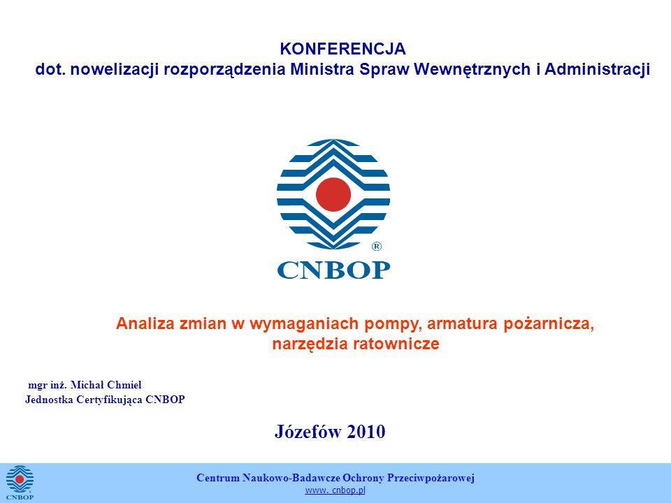 Centrum Naukowo-Badawcze Ochrony Przeciwpożarowej www. cnbop.pl mgr inż. Michał Chmiel Jednostka Certyfikująca CNBOP Józefów 2010 KONFERENCJA dot. now