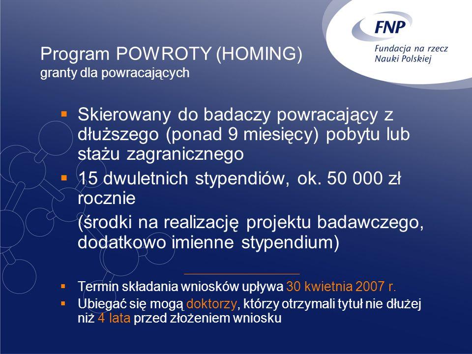 Program POWROTY (HOMING) granty dla powracających Skierowany do badaczy powracający z dłuższego (ponad 9 miesięcy) pobytu lub stażu zagranicznego 15 d