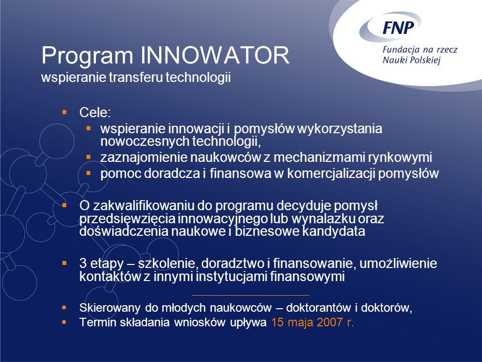 Program INNOWATOR wspieranie transferu technologii Cele: wspieranie innowacji i pomysłów wykorzystania nowoczesnych technologii, zaznajomienie naukowc