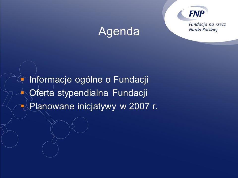 Agenda Informacje ogólne o Fundacji Oferta stypendialna Fundacji Planowane inicjatywy w 2007 r.