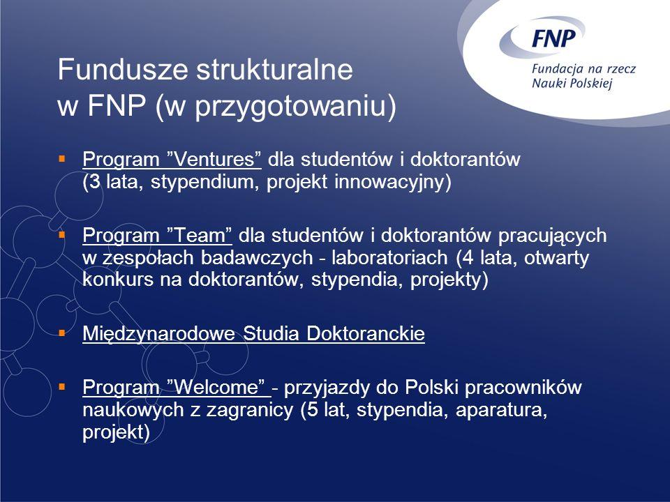 Fundusze strukturalne w FNP (w przygotowaniu) Program Ventures dla studentów i doktorantów (3 lata, stypendium, projekt innowacyjny) Program Team dla