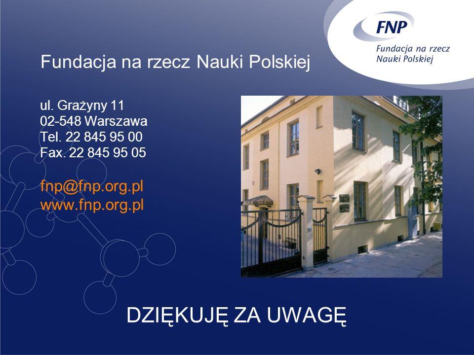 Fundacja na rzecz Nauki Polskiej ul. Grażyny 11 02-548 Warszawa Tel. 22 845 95 00 Fax. 22 845 95 05 fnp@fnp.org.pl www.fnp.org.pl DZIĘKUJĘ ZA UWAGĘ